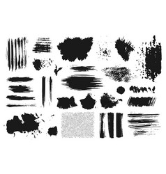 hand drawn set abstract grunge ink brush stroke vector image
