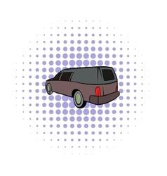 Hearse icon comics style vector