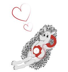 Hedgehog in love speaks on a rare red phone vector