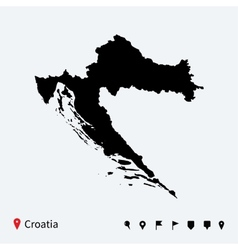 High detailed map of Croatia with navigation pins vector image