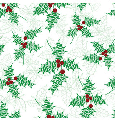 holly berry green red textured holiday vector image