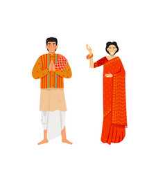 indian man and woman wearing traditional clothing vector image