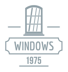 Inside window logo gray monochrome style vector