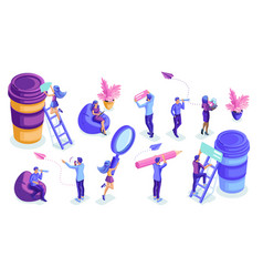 isometric set people in motion work vector image