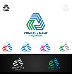 letter m for digital logo marketing financial vector image