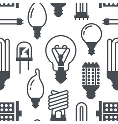 Light bulbs seamless pattern with flat glyph icons vector
