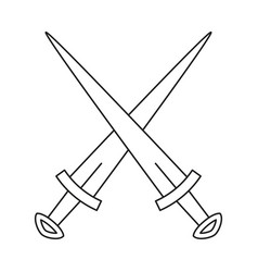line art black and white crossed daggers vector image