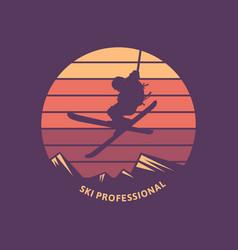 Logo design ski professional with silhouette man vector