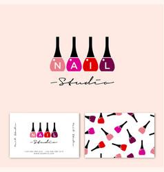 Logo nail studio polish letters identity vector