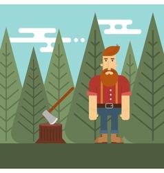 lumberjack in the wood vector image