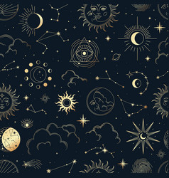 Magic seamless pattern with constellations vector