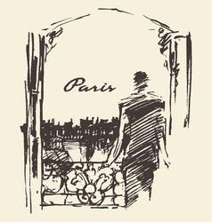 man paris skyline window sketch vector image