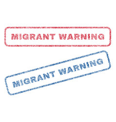 Migrant warning textile stamps vector