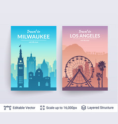 Milwaukee and los angeles famous city scapes vector