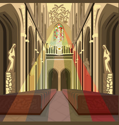 Multicolor sun rays from stained glass in church vector