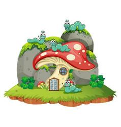 Mushroom house with four caterpillars vector