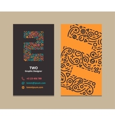 Number 2 Logo Business card vector image
