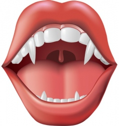 open mouth with fangs vector image