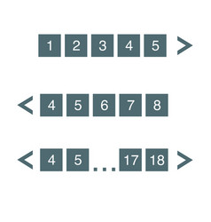 Pagination bar set with arrows electronic pages vector