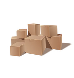 pile of stacked sealed goods cardboard boxes vector image