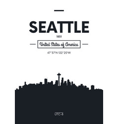 poster city skyline seattle flat style vector image