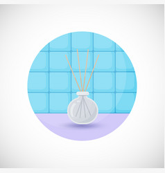 Reed diffuser with essential oils flat icon vector