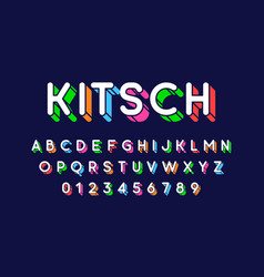 rounded colorful retro style 3d font vector image