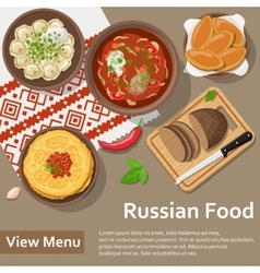 Russian food Flat Lay Style vector