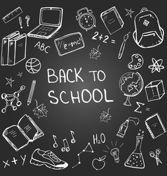 school elements in doodle style on blackboard vector image