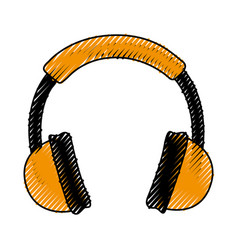 scribble headphones cartoon vector image