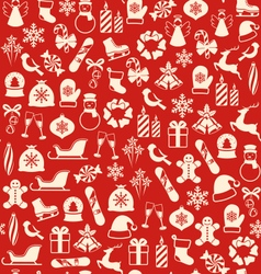 Seamless Winter Pattern with Christmas Icons vector