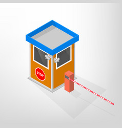 Security lodges with automatic barrier isometric vector