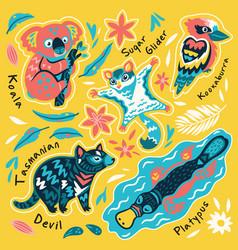 Set decorative australian animals stickers vector