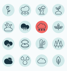 Set of 16 ecology icons includes love flower vector