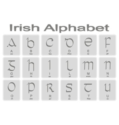 Set of monochrome icons with irish alphabet vector