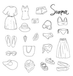 set with isolated fashion objects black and white vector image