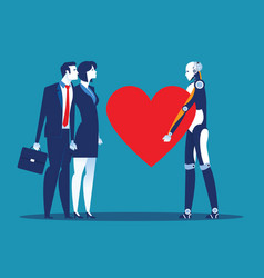 sincerity robot giving heart for human concept vector image