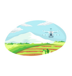 Smart farming tech with irrigation drone vector