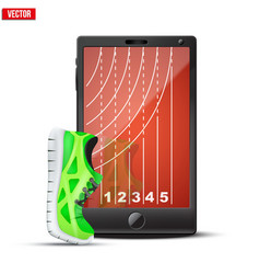 Smartphone with run shoes and running track on the vector