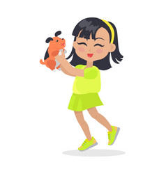 Smiling girl with black bob haircut and dog pet vector