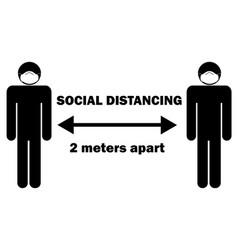 Social distancing 2 meters apart stick figure vector
