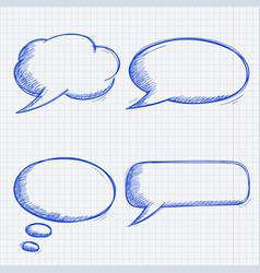 speech bubbles doodles set on lined paper vector image