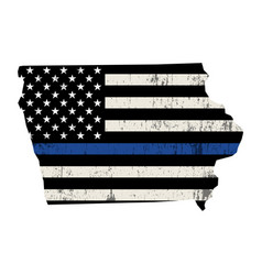 State iowa police support flag vector