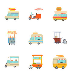 street food truck icons set cartoon style vector image