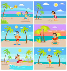 summertime children on vacations summer beach vector image
