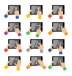 Tablet touch gestures vector image