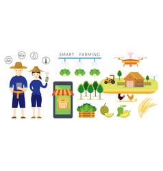 Thailand smart farmer and farming concept vector