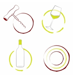 The wineglass bottle of wine and corkscrew vector