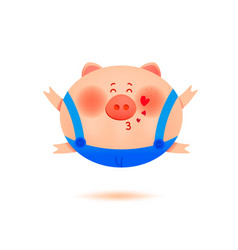 The year of the pig cute smiling little pig vector
