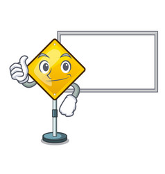 Thumbs up with board harm warning sign shaped on vector